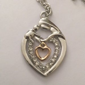 Jewelry - Mother and child gold silver tone necklace